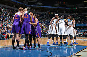The Phoenix Mercury and the Minnesota Lynx huddle up during Game One of the WNBA Western Conference Finals on September 24 2015 at Target Center in...