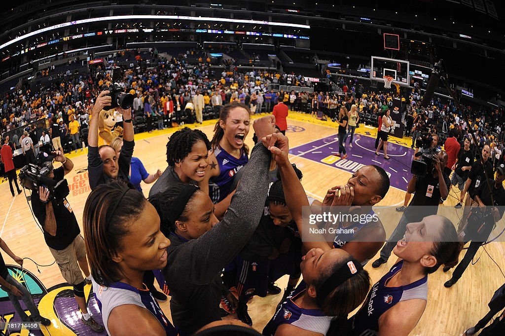 The Phoenix Mercury celebrate their victory over the Los Angeles Sparks in Game Three of the Western Conference Semifinal of the 2013 WNBA playoffs at Staples Center on September 23, 2013 in Los Angeles, California.