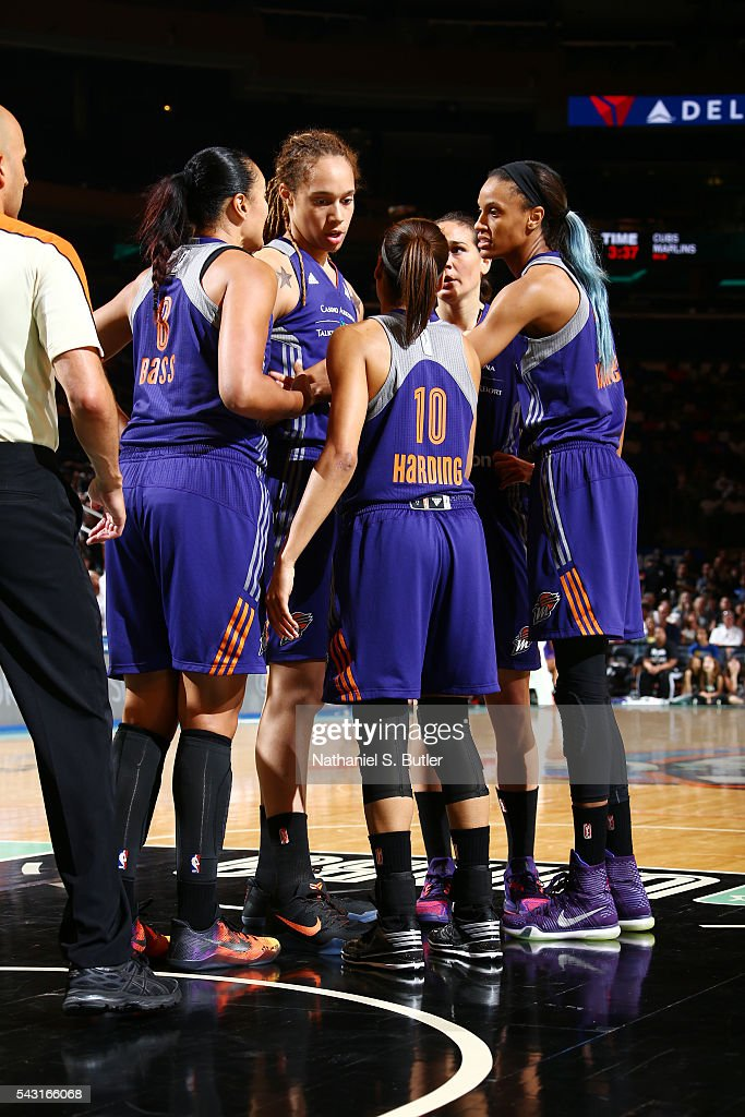 The Phoenix Mercury huddle at halftime during the game against the New York Liberty on June 26, 2016 at Madison Square Garden in New York, New York.