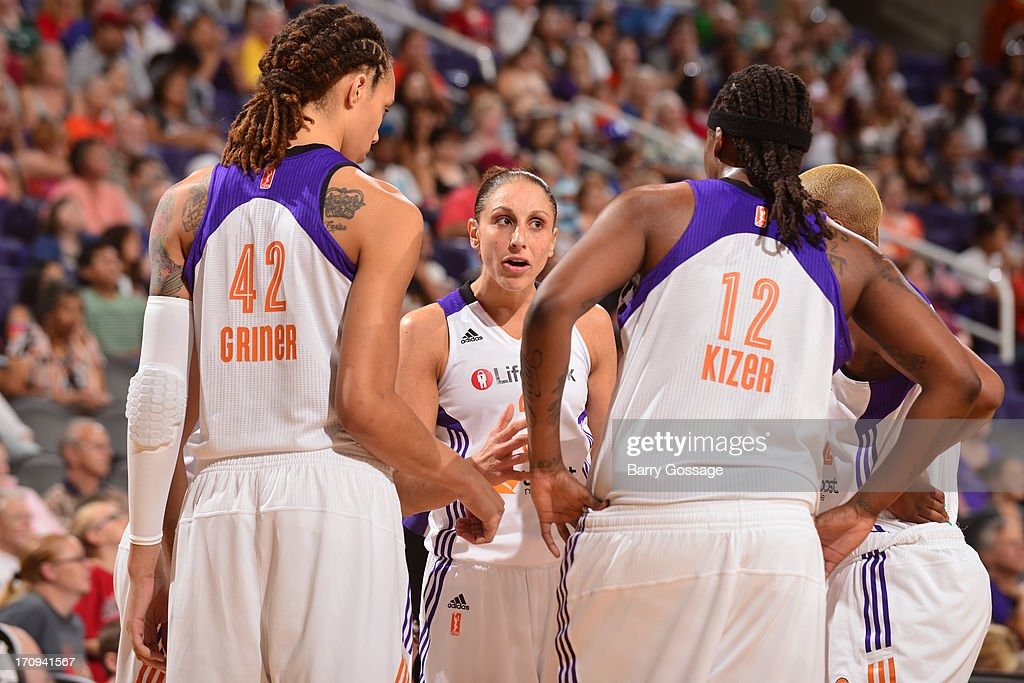 The Phoenix Mercury huddle up before the game against the Minnesota Lynx on June 19, 2013 at U.S. Airways Center in Phoenix, Arizona.