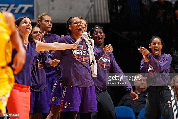 The Phoenix Mercury's bench celebrates during Game Two of the WNBA Western Conference Semifinals against the Tulsa Shock on September 19 2015 at the...