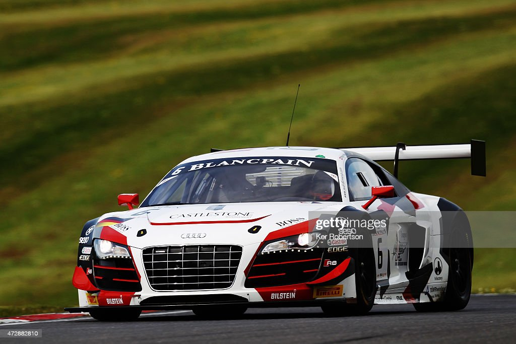 The Phoenix Racing Audi R8 LMS Ultra of Niki MayrMelnhof and Markus Winkelhock drives in the Main Race during the Blancpain GT Sprint Series event at...