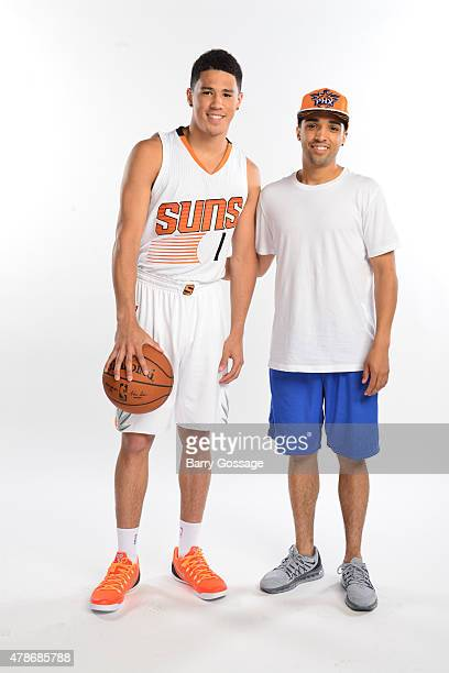 The Phoenix Suns 2015 first road draft pick Devin Booker poses for a portrait on June 26 2015 at US Airways Center in Phoenix Arizona NOTE TO USER...