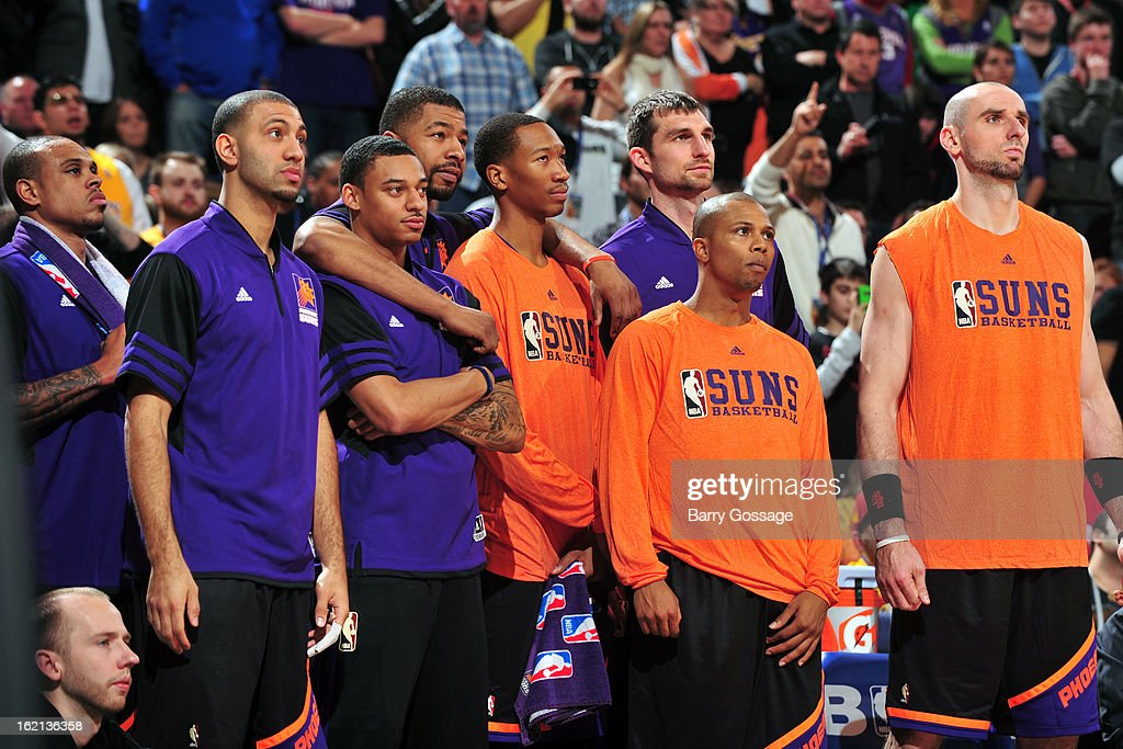The Phoenix Suns bench reacts to a call in the game against the Los Angeles Lakers on January 30, 2013 at U.S. Airways Center in Phoenix, Arizona.