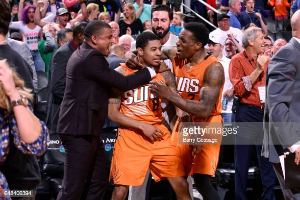 The Phoenix Suns celebrate their victory against the Boston Celtics after Tyler Ulis of the Phoenix Suns hits the game winning threepoint shot on...