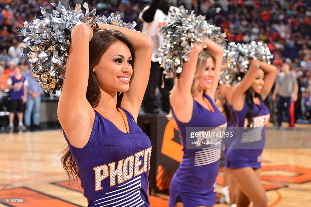 The Phoenix Suns dance team peforms before a game against the Oklahoma City Thunder on April 6, 2014 at U.S. Airways Center in Phoenix, Arizona.