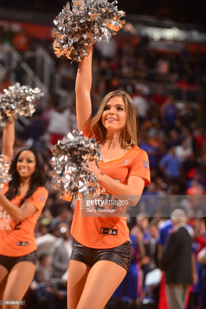 The Phoenix Suns dance team performs during a game against the Detroit Pistons on March 21, 2014 at U.S. Airways Center in Phoenix, Arizona.