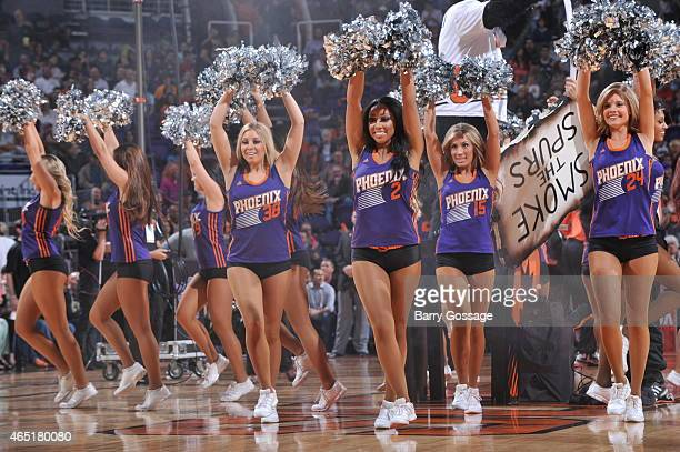 The Phoenix Suns dance team performs during a game against the San Antonio Spurs on February 28 2015 at US Airways Center in Phoenix Arizona NOTE TO...
