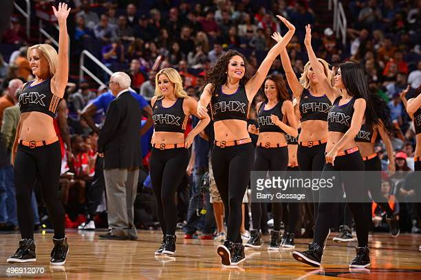 The Phoenix Suns dance team performs during the game against the Los Angeles Clippers on November 12 2015 at Talking Stick Resort Arena in Phoenix...