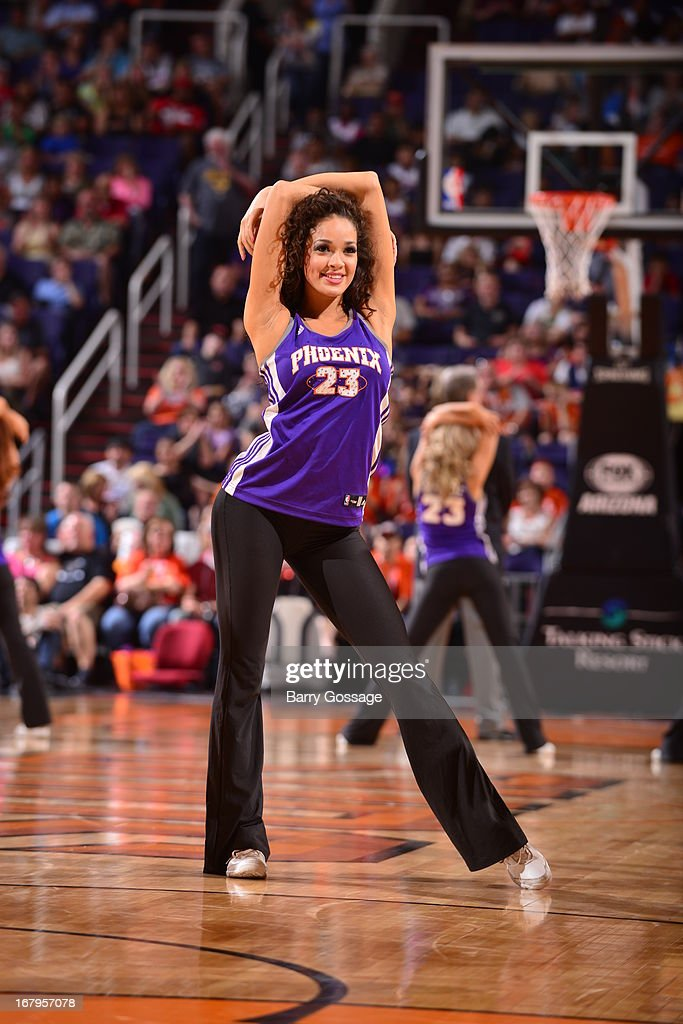The Phoenix Suns dance team performs during the game against the New Orleans Hornets on April 7, 2013 at U.S. Airways Center in Phoenix, Arizona.