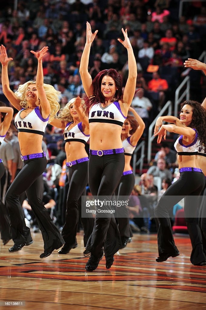 The Phoenix Suns dance team performs during the game against the Dallas Mavericks on February 1, 2013 at U.S. Airways Center in Phoenix, Arizona.