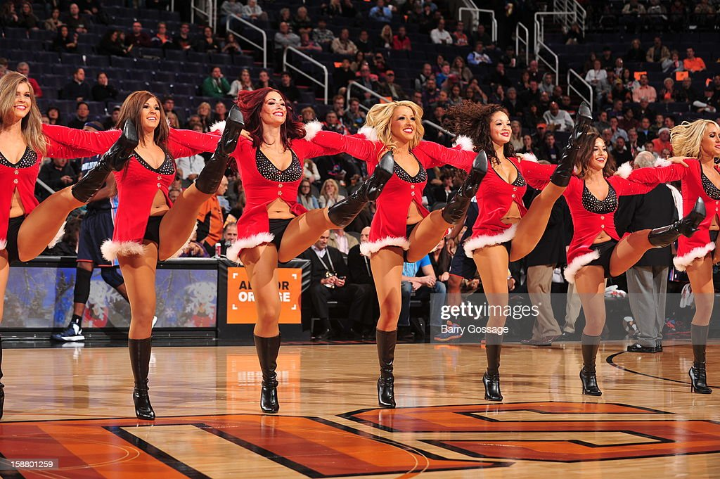 The Phoenix Suns dancers perform during the game against the Charlotte Bobcats on December 19, 2012 at U.S. Airways Center in Phoenix, Arizona.