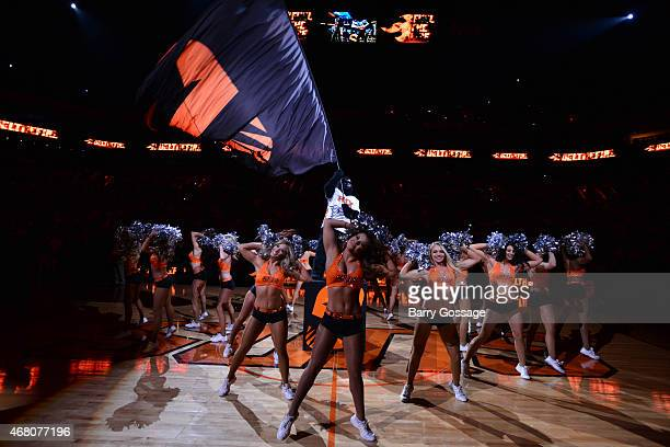The Phoenix Suns Gorilla and the Suns Dancers get the crowd cheering as the Suns host the Oklahoma City Thunder on March 29 2015 at US Airways Center...