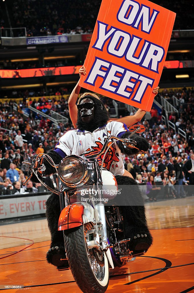The Phoenix Suns Gorilla gets the crowd into the game against the Los Angeles Lakers on January 30, 2013 at U.S. Airways Center in Phoenix, Arizona.