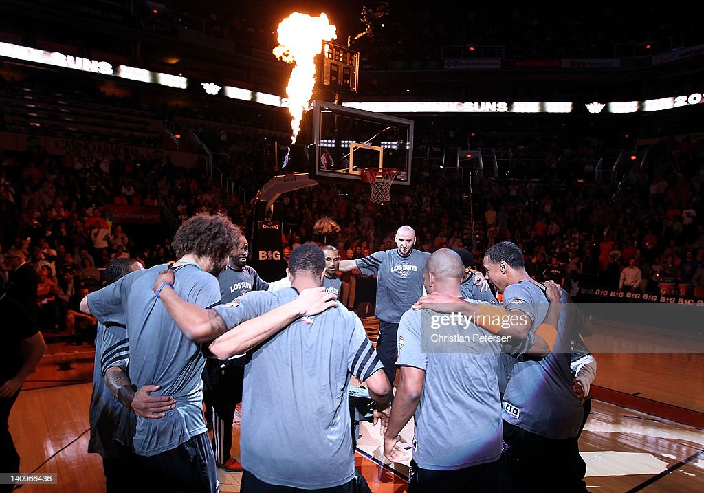 The Phoenix Suns huddle up before the NBA game against the Dallas Mavericks at US Airways Center on March 8, 2012 in Phoenix, Arizona. The Suns defeated the Mavericks 96-94.