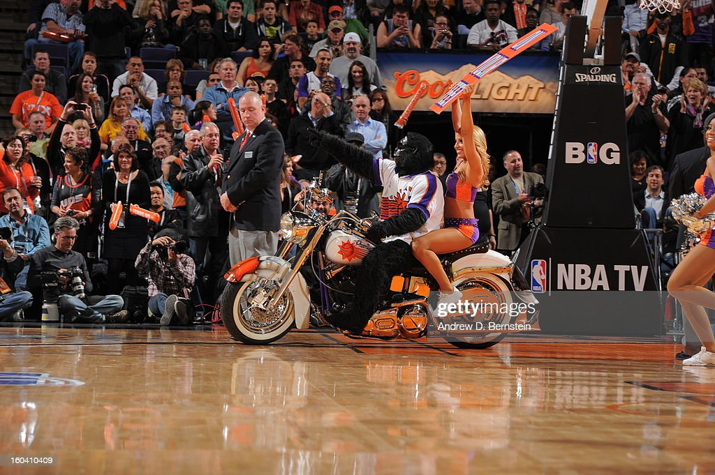 The Phoenix Suns Mascot performs during the game between the Los Angeles Lakers and the Phoenix Suns at US Airways Center on January 30, 2013 in Phoenix, Arizona.