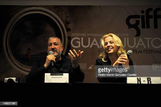 The photographer Spencer Tunick and Sara Hoch in a press conference at the Auditorio del Estado during the Guanajuato International Film Festival on...