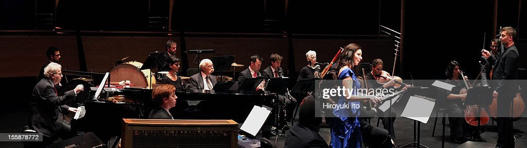 The pianist Emanuel Ax and musicians from the New York Philharmonic performing in 'Song of the Earth' as part of Lincoln Center's White Light Festival at the Rose Theater on Sunday afternoon, November 4, 2012.This image:Matthias Pintscher conducting Mahler's 'Das Lied von der Erde' with the mezzo-soprano Tamara Mumford and the pianist Emanuel Ax.
