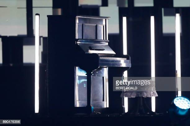 The piano that once was damaged in the 1945 atomic bombing of Hiroshima is pictured on stage during the Nobel Peace Prize Concert to honor the peace...