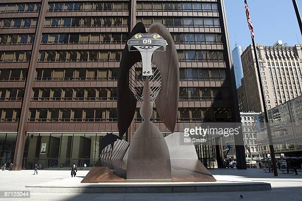 The 'Picasso' in Chicago wears a Chicago Blackhawks helmet before GameSix of the Western Conference Semifinal Round of the 2009 Stanley Cup Playoffs...