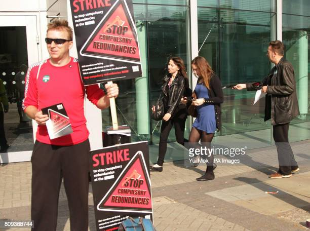 The picket line outside BBC Television Centre in Wood Lane west London as members of the National Union of journalists stage a 24 hour strike over...