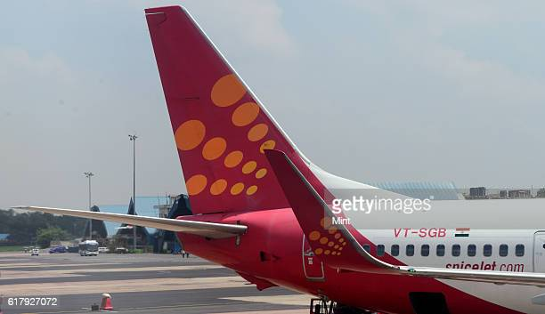 The picture featuring tail fin of SpiceJet Aircraft on July 25 2013 in New Delhi India