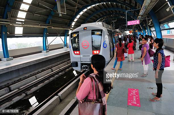 The picture featuring women compartment in Delhi Metro on July 24 2013 in New Delhi India