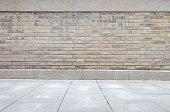 Industrial background, empty grunge urban street with warehouse brick wall'n