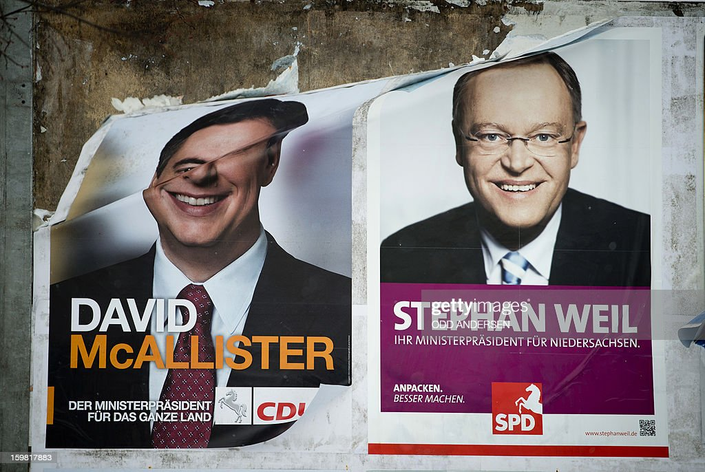 The picture of German politician Stephan Weil (SPD) is seen on an election poster next to a half torn one of the incumbent State Premier David McAllister the day after the elections in Hanover, northern Germany on January 21, 2013.Germany's centre-left opposition beat Chancellor Angela Merkel's ruling alliance Sunday in a cliffhanger state poll eight months ahead of a national election, estimates on public television showed. In one of the tightest German state races in recent memory, the Social Democrats together with the Greens eked out a one-seat lead in Lower Saxony in northwestern Germany, just ahead of the incumbent coalition of Merkel's Christian Democrats with the Free Democrats. AFP PHOTO / ODD ANDERSEN