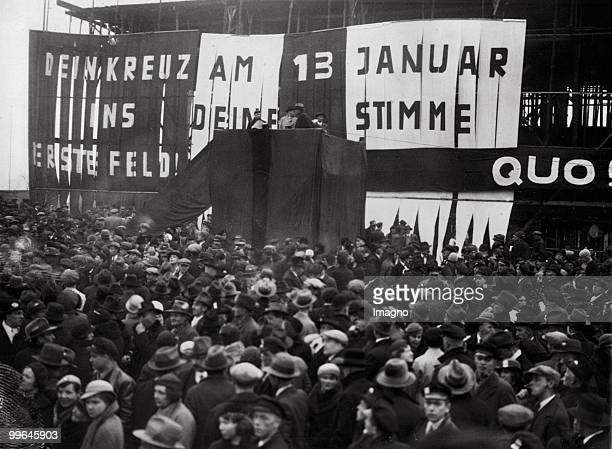 The picture shows a demonstration in Saarbruecken the people are listening to a speech of Max Braun Saarbruecken Germany Photograph 1935 Photo by...