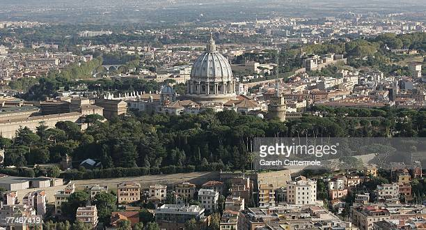 The picture shows an aerial view of St Peter's Basilica the Vatican walls and gardens on October 23 2007 in Rome Italy
