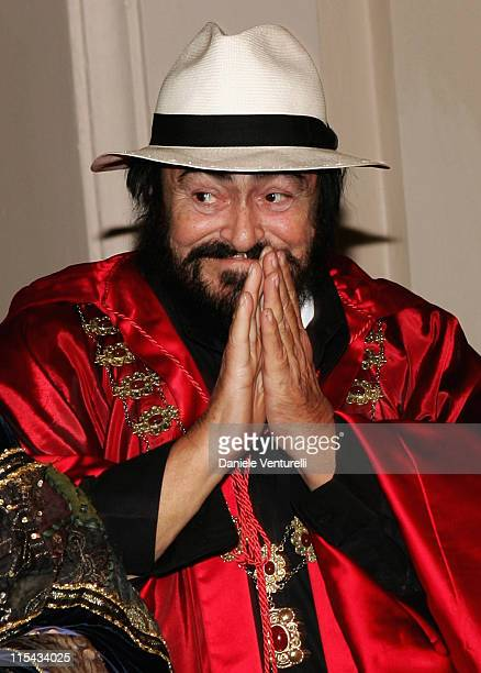 The picture shows opera singer Luciano Pavarotti celebrating his 70th birthday on October 12 2006 The opera star has died at the age of 71 at his...