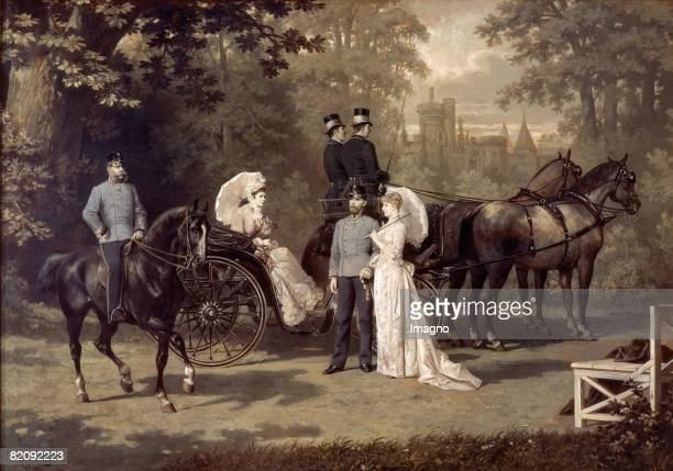 The picture shows the austrian royal couple Franz Joseph and Elisabeth with the crownprince Rudolf and his wife Stephanie in Laxenburg Painting by...