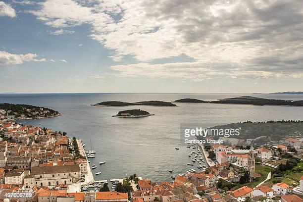 The picturesque city of Hvar in the Adriatic Sea