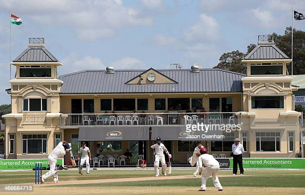 The picturesque pavillion forms the backdrop while play takes takes place on day two of the international tour match between the New Zealand XI and...