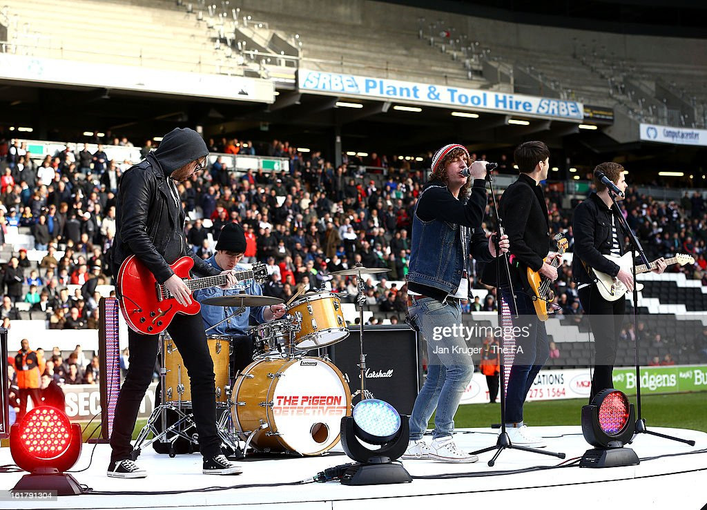 The Pigeon Detectives perform prior to kick off during the FA Cup with Budweiser Fifth Round match between MK Dons and Barnsley at StadiumMK on February 16, 2013 in Milton Keynes, England.