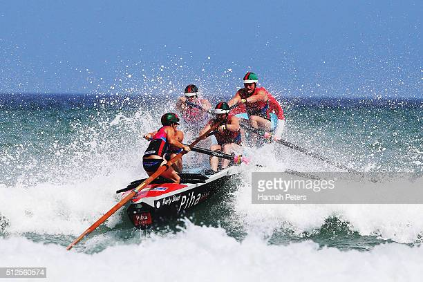 The Piha crew competes in the Piha Big Wave Classic at Piha Beach on February 27 2016 in Auckland New Zealand