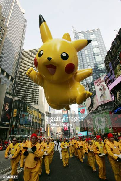 The Pikachu balloon floats in Times Square during the 81st annual Macy's Thanksgiving Day Parade on November 22 2007 in New York City
