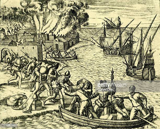 The Pillage and Burning of an American town by French Filibusters in the 16th century Attackers coming from the sea