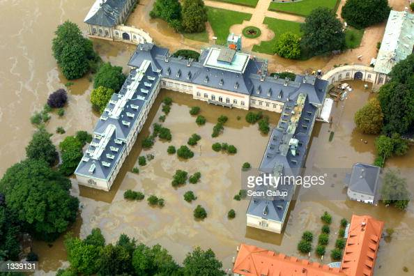 The Pillnitz Palace stands in floodwaters from the nearby Elbe River August 16 2002 in Dresden Germany Water levels from the Elbe rose to their...