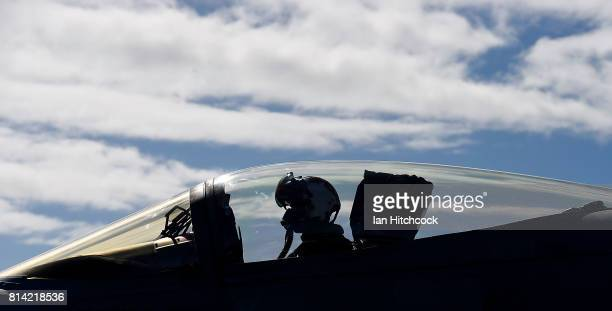 The pilot of a US Navy Super Hornet is seen taxing his aircraft along the deck of the USS Ronald Reagan on July 14 2017 in Townsville Australia USS...
