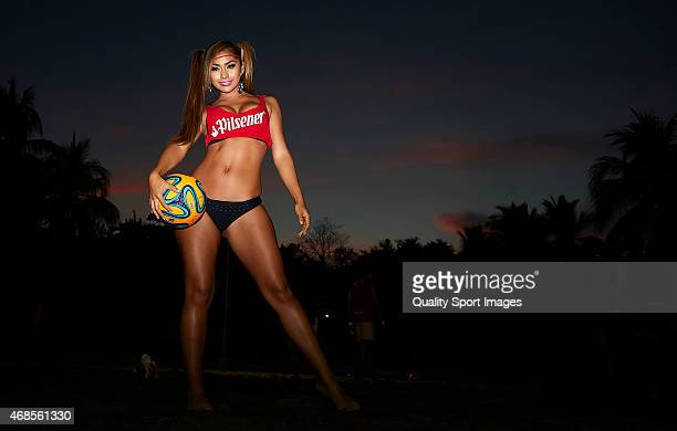 The Pilsener Beach Babe poses during day six of the CONCACAF Beach Soccer Championships El Salvador 2015 match between Mexico and USA at Estadio...