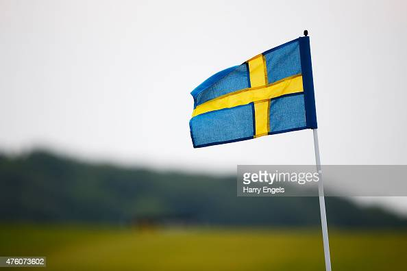 The pin flags are replaced with Swedish flags to mark Sweden's National Day on day three of the Nordea Masters at the PGA Sweden National on June 6...