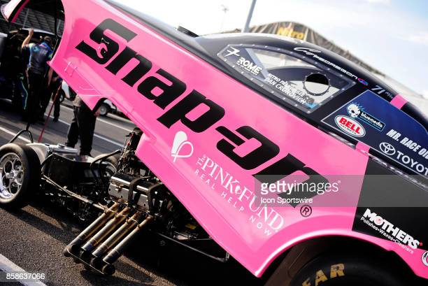 The pink body celebrating the Pink Fund is displayed on the Cruz Pedregon Toyota Camry NHRA Funny Car during qualifying for the 6th annual AAA...