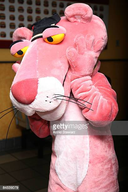 The Pink Panther visits Burger King and hands out Burger King's Fresh Apple Fries to customers on January 29 2009 in New York City