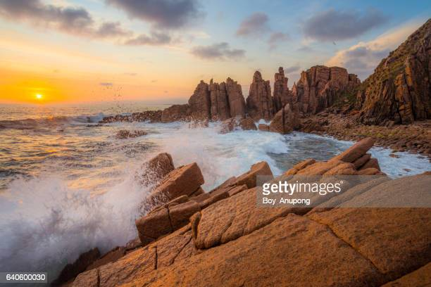 The Pinnacles rock formation the iconic landscape of Cape Woolamai during the sunset, Australia.