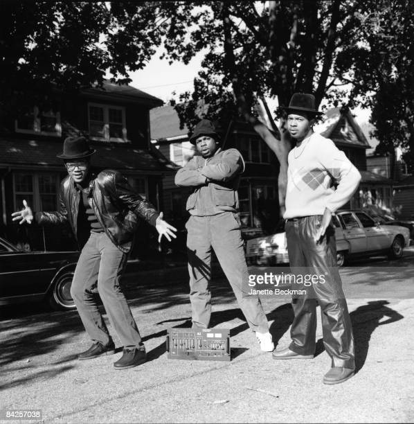 The pioneering rap group Run DMC poses on the streets of their Hollis Queens neighborhood 1984 From left to right Darryl 'DMC' McDaniels Jason 'Jam...