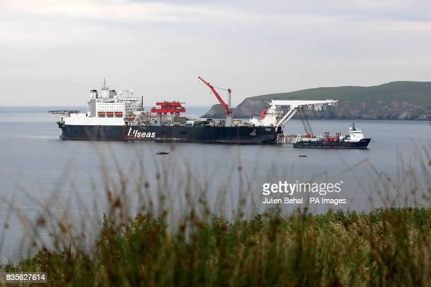 The pipe laying vessel the Solitaire makes its way into Broadhaven Bay A massive security operation was undertaken as work on the final stages of...