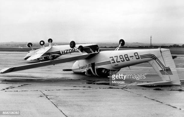 The Piper Tomahawk aircraft owned by the Cambrian Flying Club which was blown over at Cardiff Airport by the gales 16th October 1987