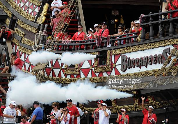 The pirate ship of the Tampa Bay Buccaneers celebrates a score with canon fire against the Atlanta Falcons at Raymond James Stadium on September 14...